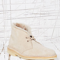 Clarks Originals Fur Desert Boots in Sand at Urban Outfitters