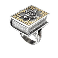 The magnificent cover displays the alchemist's glyph of the mystical unity of creation, and opens to reveal a wealth of secrets. Pewter with brass inlay. (hinged, with magnetic catch).