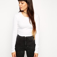 ASOS Crop Top with Crew Neck and Long Sleeves at asos.com