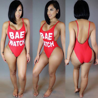 Red Letter Print Spaghetti Strap Backless One Piece Swimsuit