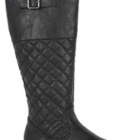 Tall Flat Quilted Riding Boots with Buckle at Top