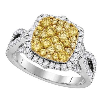 14kt White Gold Women's Canary Yellow Diamond Cluster Twist Ring 1-3/4 Cttw