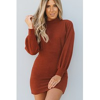 Not Too Late Sweater Dress (Brick)