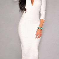 White Deep V-Neck Bodycon Dress