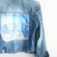 Vintage Retro 90s Denim Wolf Unicorn Patch Jacket~ Women's Small Medium Jeans Jacket~ Bohemian Rocker Hipster Chic Indie Jacket~ Gypsy Style