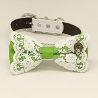 Green bow tie dog collar, Green leather dog collar