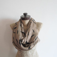 SCARF // Pale brown  scarf,  Mustache Scarf, Infinity Loop Scarf,  Mustaches Wide Scarf, Neckwarmer, Timeless, unisex, cotton scarf.