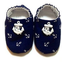 Nautical Baby Boy Shoes with Anchors by ShoesbySusie on Etsy