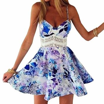 Amazon.com: SUNNOW Womens Summer Straps Sleeveless Floral Printed Skater Short Dress