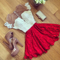 2016 Women Sexy Lace Hollow Dress Summer Style Perspective Dresses O-neck Casual Vestidos fashion Dress