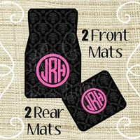 Custom Personalized Set of Car Floor Mats - Front and or Rear Back, Monogrammed Car Mats, Damask