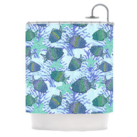 "Julia Grifol ""My Colorful Fishes"" Blue Teal Shower Curtain"