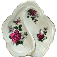 Snacks Serving Bowl with Handle with Rose Decor by Richmond, Vintage English