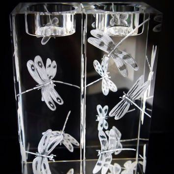Dragonflies Engraved on a pair of Candle holders