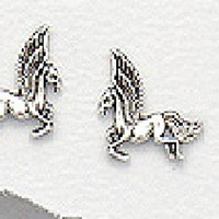 Exceptional Quality.925Sterling Silver and Cute Unicorn-Pegasus Flying Horse mythological Symbol Fantasy Imaginary Horses 7 mm. x 12 mm. Womens Girls Pendant Earrings
