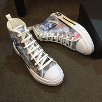 Dior Men's Oblique Canvas B23 Fashion High Top Sneakers Shoes-KUYOU
