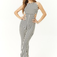 Cutout Variegated-Stripe Jumpsuit