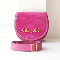 Gucci Suede Waist Belt Bag Pink Horsebit vintage authentic handbag purse