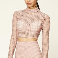 Open-Mesh Crop Top