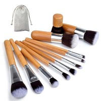 LMFUS4 11pcs/set Professional Makeup Brushes Set Wood Superior Soft Cosmetic Eyeshadow Foundation Concealer Make up Brush Set with Bag