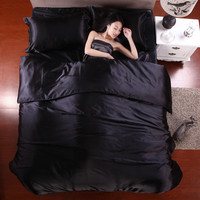 satin silk bedding duvet cover flat sheet pillowcases