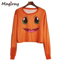 Harajuku  Cartoon Print Hoodies Casual Loose Crop top Sweatshirt Women 2017 Pullover Long Sleeve Cute Pink Hoodie C421Kawaii Pokemon go  AT_89_9
