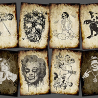 8 postcards at your choice digital postcard weird strange creepy zombie Skull Mickey dog Marilyn Unicorn Frankenstein tree gun party