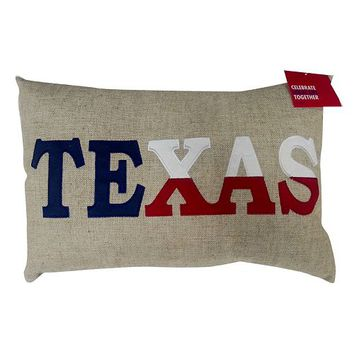 Celebrate Local Life Together ''Texas'' Burlap Throw Pillow