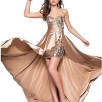 Drasawee Women Beaded Front Short Long Back Evening Prom Party Dress Evening Gown