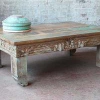 Reclaimed Coffee Table Salvaged Indian Architectural Elements Jodhpur Blue Yellow Carved Wood Media Stand