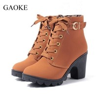 New Autumn Winter Women Boots High Quality Solid Lace-up European Ladies shoes PU Leather Fashion Boots