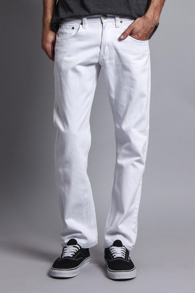 Image of Men's Slim Fit Colored Jeans (White)