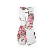 NEW HOT 2016 Open Back Chiffon Floral Romper Women's Summer Playsuits Jumpsuit Cute Female Overalls Clothing