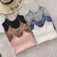 Elastic Slim Tank Top Women Knitted Top