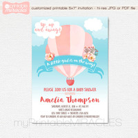 Hot air balloon baby shower, Shabby chic watercolor invitation, Personalized up up and away invite, Printable invite card