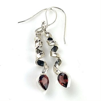 Garnet Sterling Silver Curled Ribbon Earrings