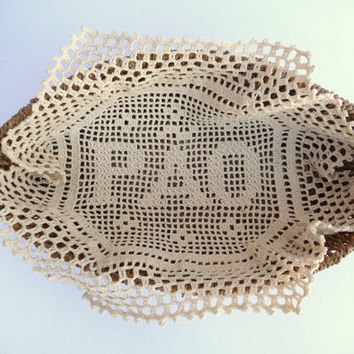 Cloth Crochet for Bread Serving Basket in Natural Beige Doily