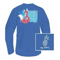 Bright Eyed Long Sleeve Tee Shirt in Royal Heather by MG Palmer