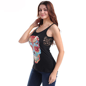 Halter Top Women Sexy Black Skull Print Punk Ring Camis Axilla Lace Stitching Tank Tops Hot Girls Crop Top Sheer Camisole Summer