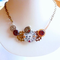 Steampunk Style Necklace Mixed Gear Watch Face Jewellery Rustic Wide Leaf  Pendant
