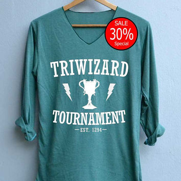 Triwizard Tournament Est 1294 Shirt Harry Potter Shirts V-Neck Green Unisex Adult Size S M L