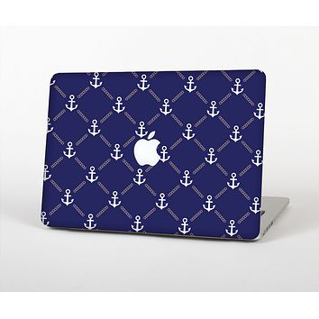 The Navy Blue & White Seamless Anchor Pattern Skin for the Apple MacBook Air 13""