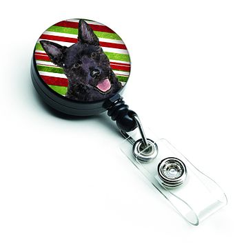 Australian Kelpie Candy Cane Holiday Christmas Retractable Badge Reel SS4567BR