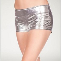 Metallic Booty Shorts - Silver - Spencer's