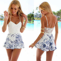 Juice action Womens Sexy Printed Backless Dress