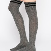 ASOS 2 Stripe Cable Over The Knee Socks