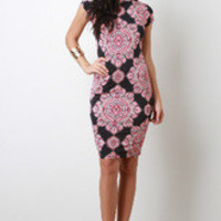Women's Batik Print Bodycon Dress - Size S