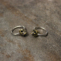 Skull Hoop Nipple Ring, 14G Surgical Steel Captive Bead Earrings, Cartilage Helix Conch