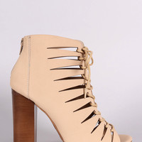 Bamboo Nubuck Peep Toe Lace-Up Cutout Booties
