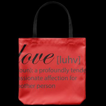 Love Definition Tote Bag, Red Canvas tote bag, For Women, Beach Bag, Travel tote bag